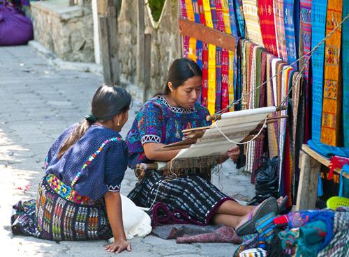 Cloth being woven in San Juan la Laguna Lake Atitlan