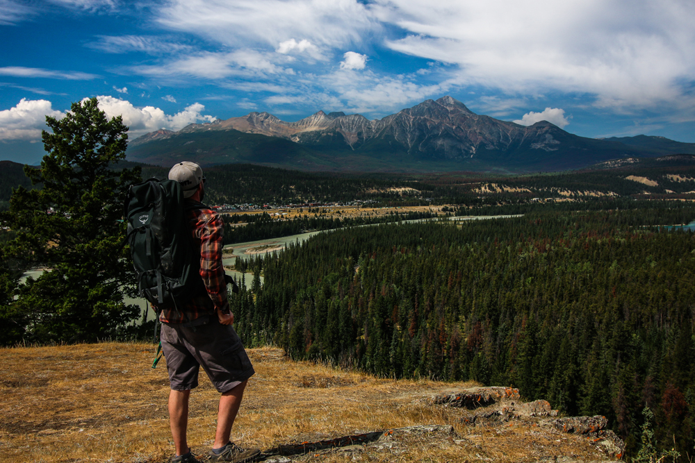 Mark overlooking the town of Jasper in the Canadian Rockies