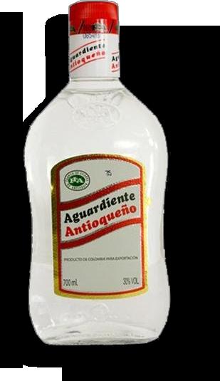 A bottle of clear liquor.