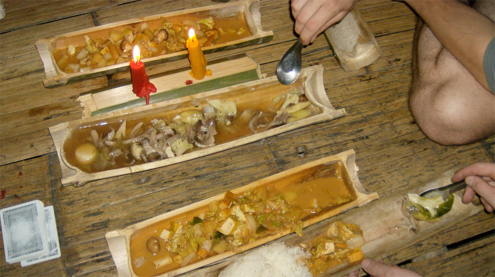 Mushroom stew in bamboo dishes