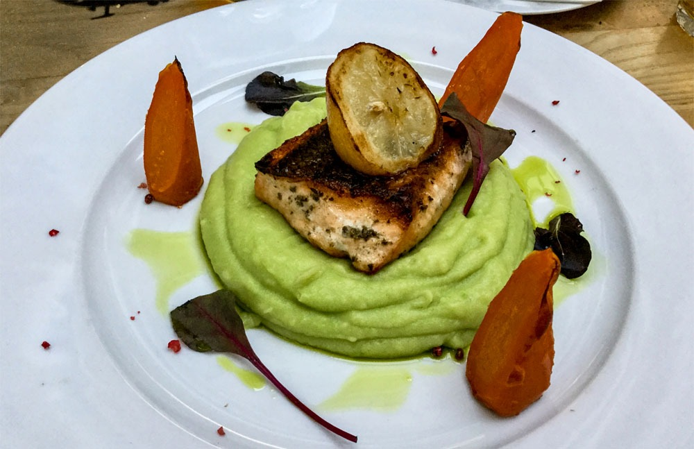 Salmon, carrots and mashed peas at the Koprivna Resort