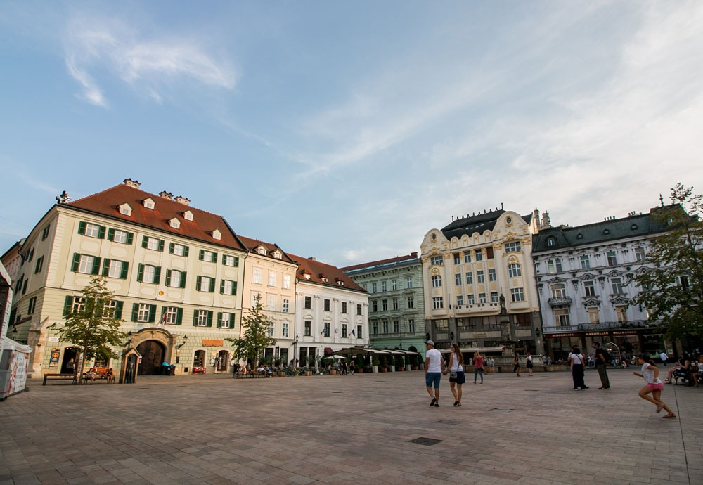 Beautiful old buildings in a square in Bratislava