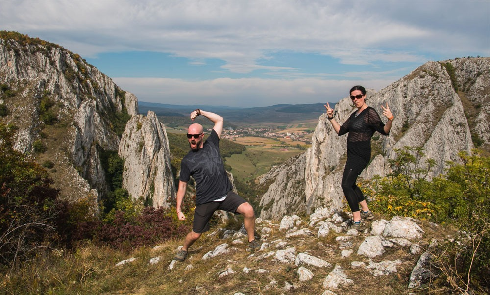 Kylee and Mark goofing off high on a mountain