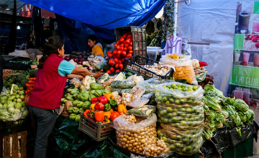 A vegetable market in Oaxaca, Mexico
