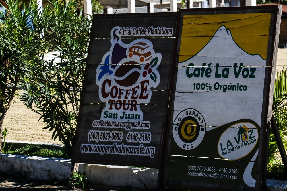 Signs at the entrance of the Guatemala coffee tour