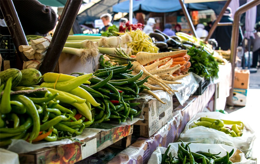 Vegetables in a market stall