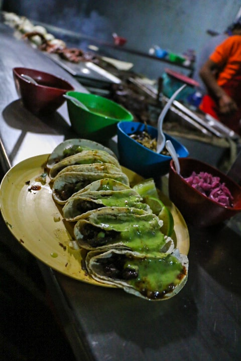 Tacos are a must eat snack in Oaxaca