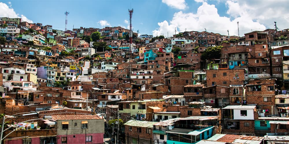 Colourful buildings on a hillside, typical of Medellín, Colombia