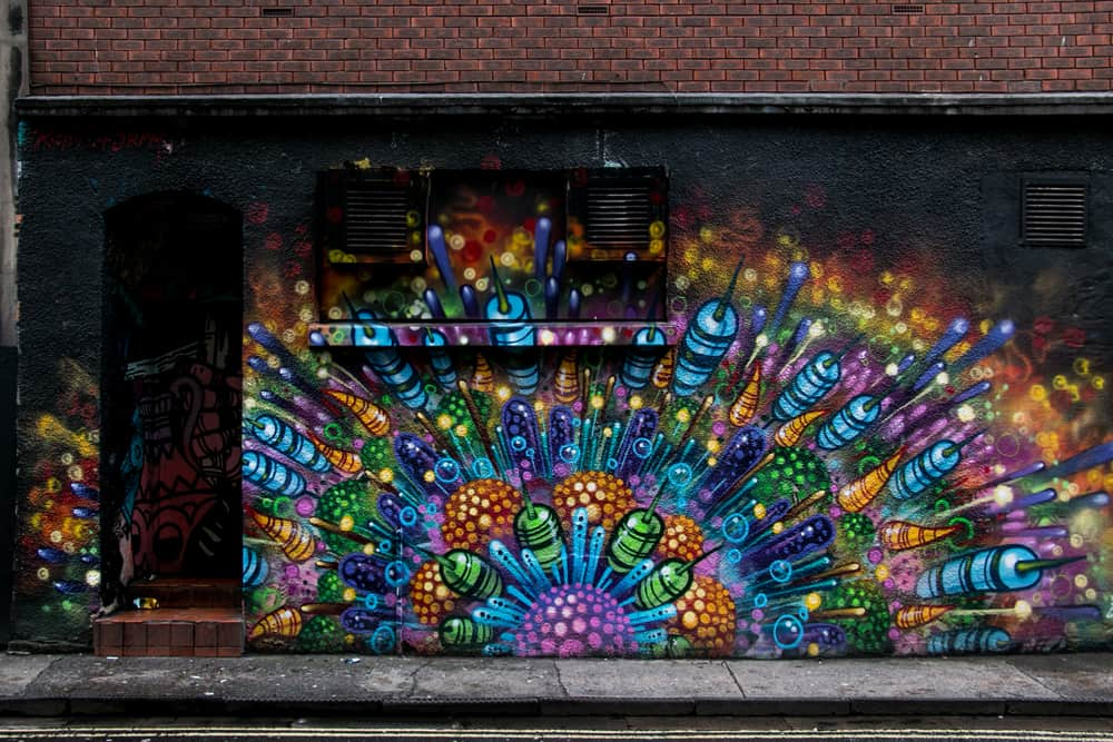 Colourful  graffiti on the side of a building