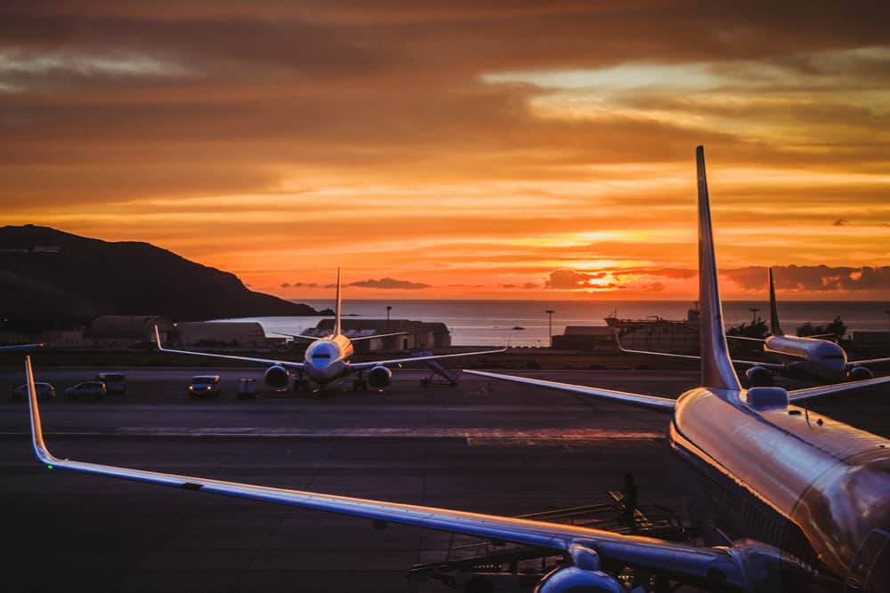 An airport at sunrise