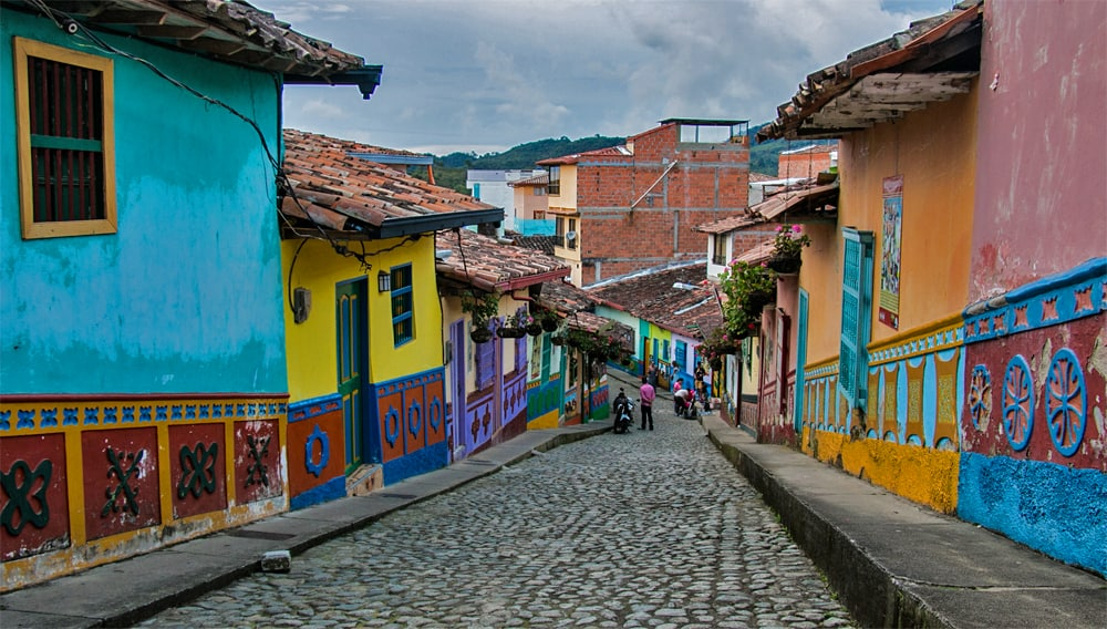 Brightly painted colourful buildings on the streets of Guatape