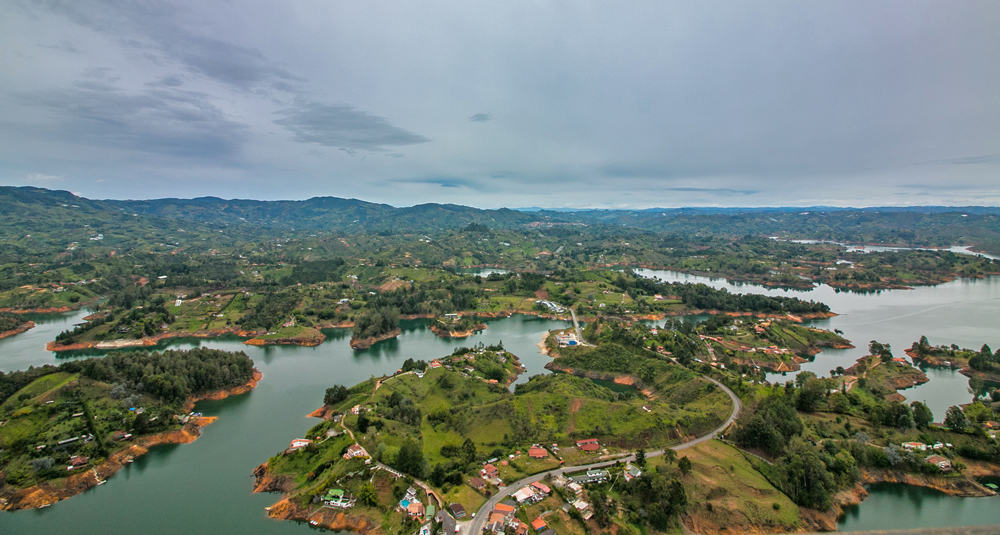 Green hills and blue lakes as viewed from the rock of Guatape