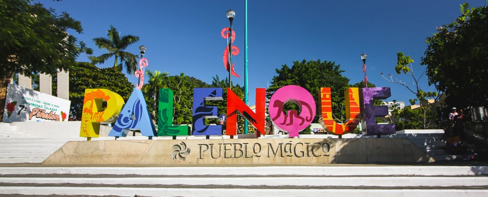 a colourful Palenque sign in the city centre