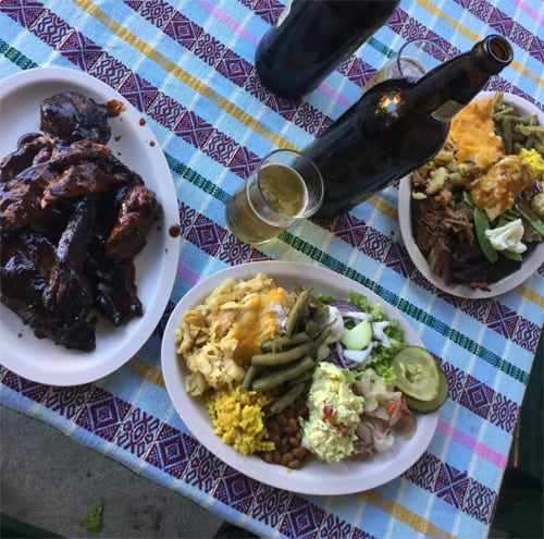 A massive spread of Southern BBQ at Lake Atitlan