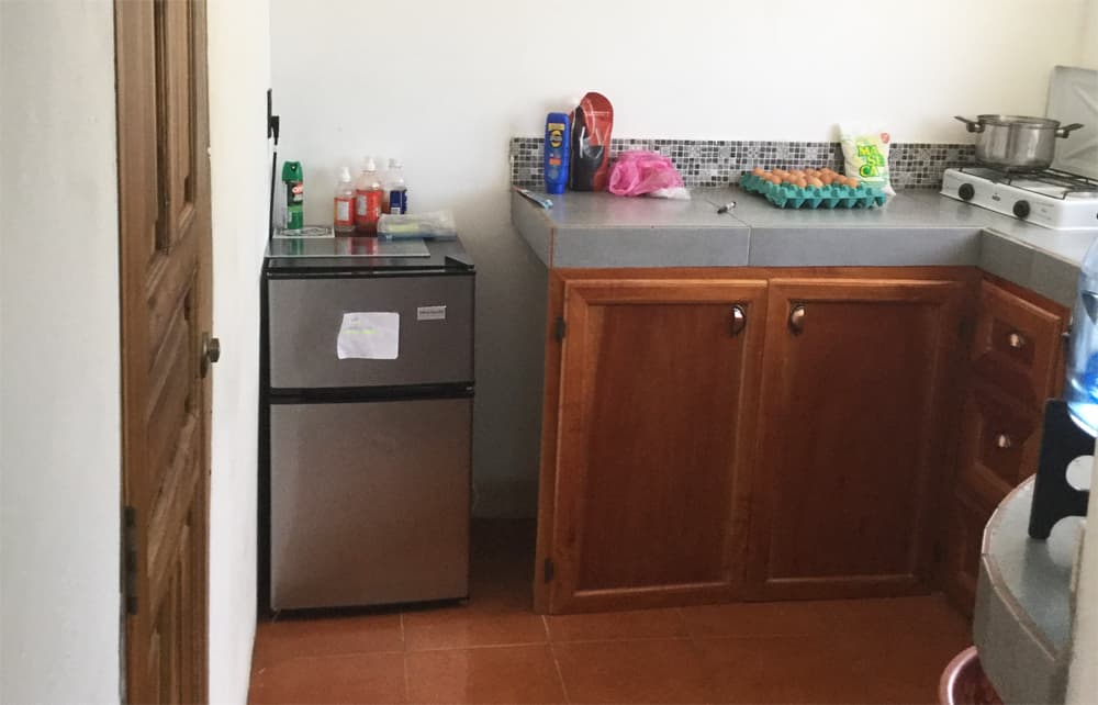 Kitchen counter and small bar fridge