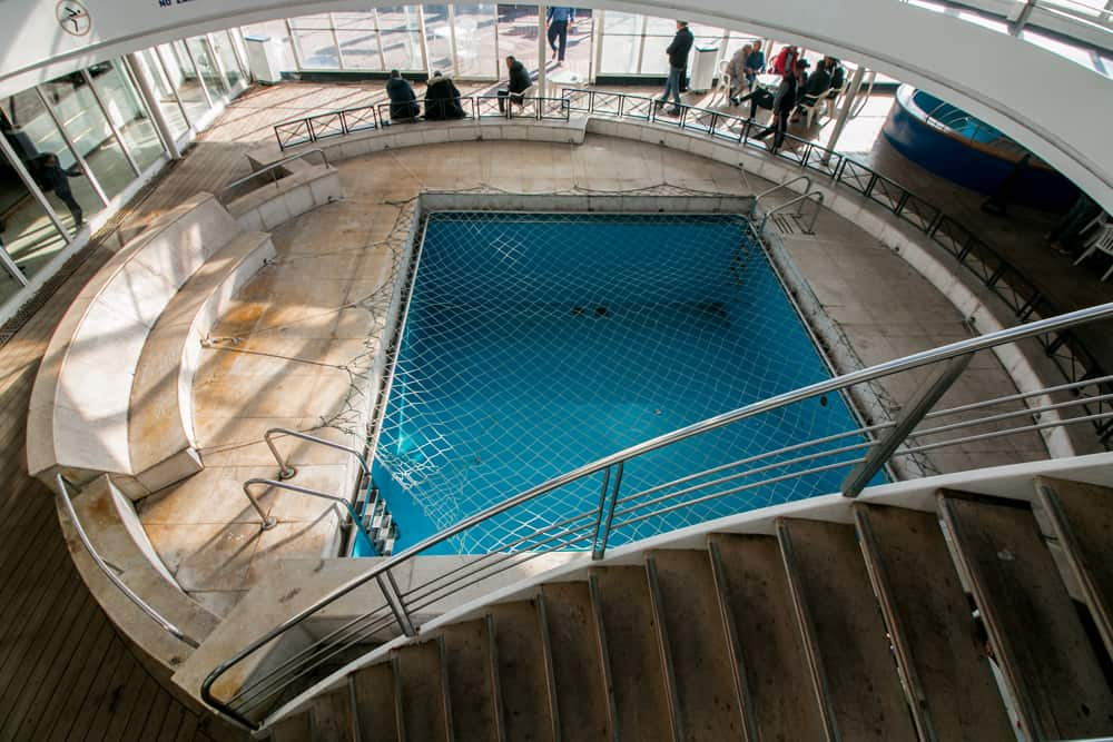 The Pool of the Barcelona ferry, sits empty.