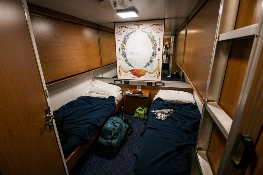 Our room on the Spain to Morocco ferry