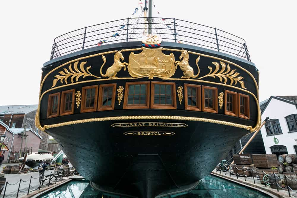 Rear of a large cruise ship from 19th century