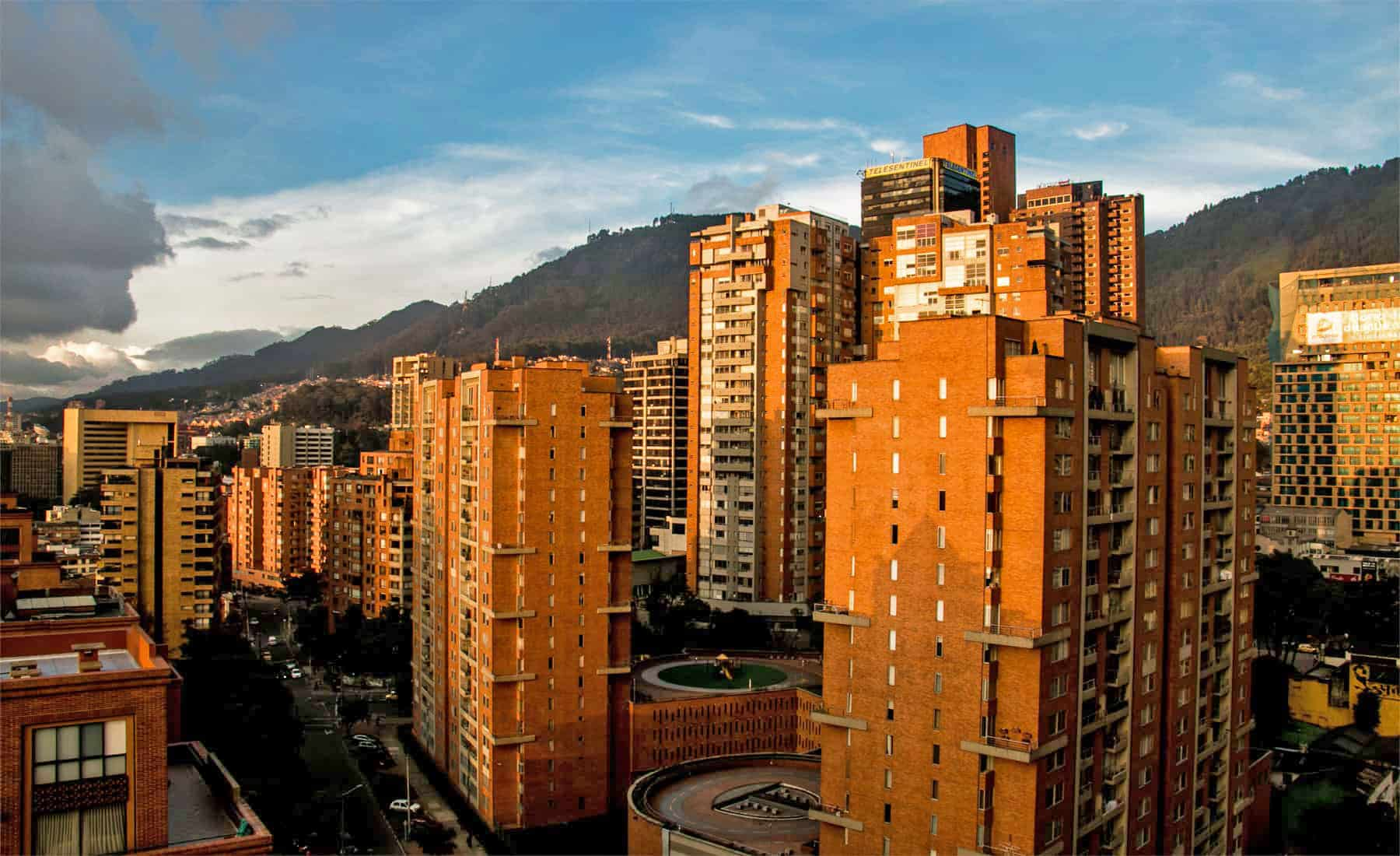 Orange buildings at sunset in Bogota, Colombia