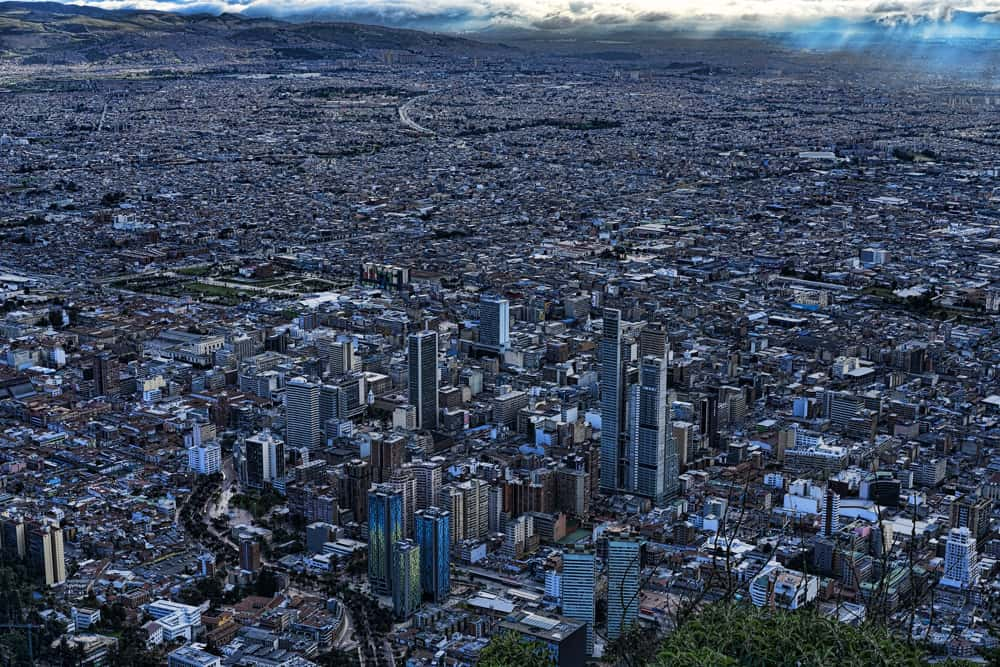 An overhead view of the congested city of Bogota