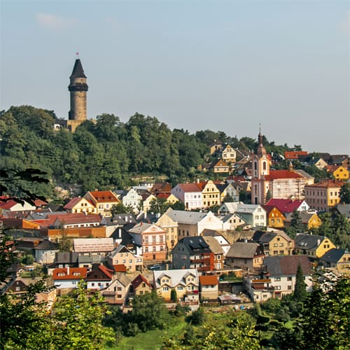 Colourful town of Stramberk with a tower in the background