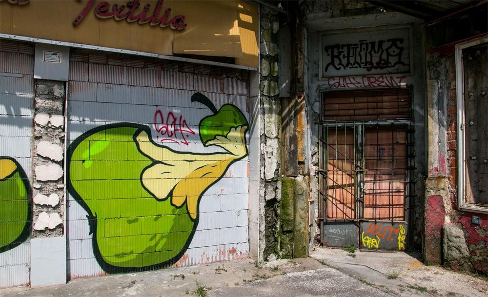 Apple graffiti on a wall in Ostrava
