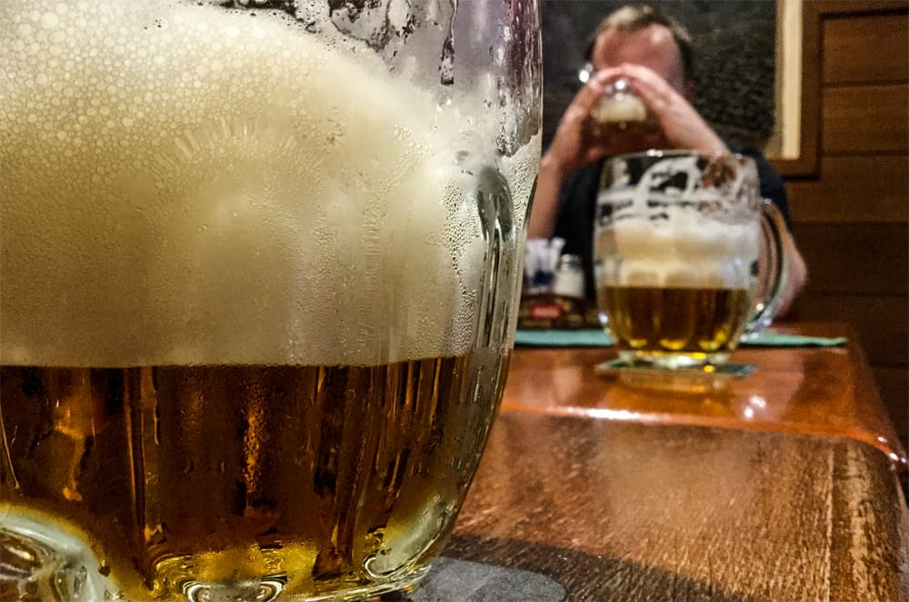 A couple glasses of beer from a pub in Ostrava