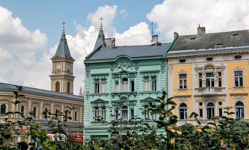 Yellow and blue houses on the streets of Ostrava