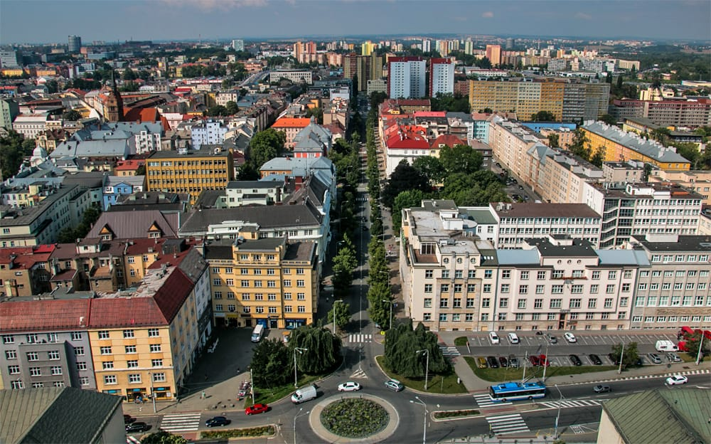 Arial view of Ostrava in the Czech Republic