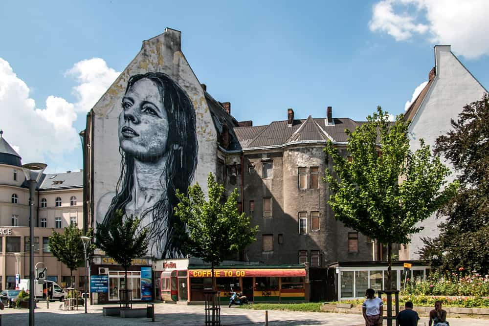 Street art of a woman on the side of a building in Ostrava Czech Republic
