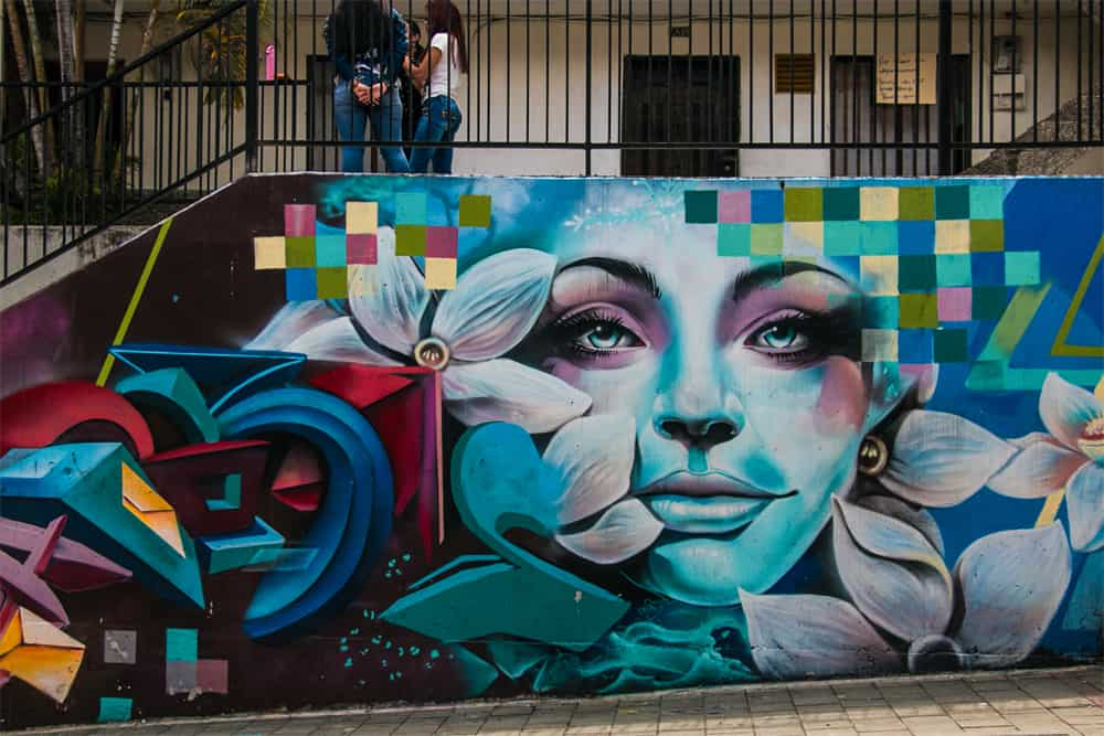 Graffiti street art of a womans face surrounded by flowers and many different coloured patterns