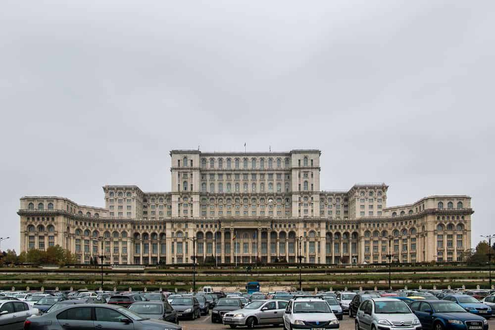 Giant block building made of marble, the parliament building of Romania in Bucharest.