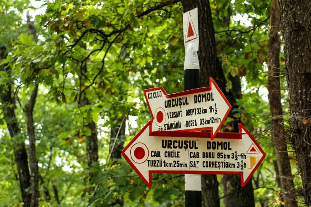 Sign post listing different hiking routes through Turda Gorge.