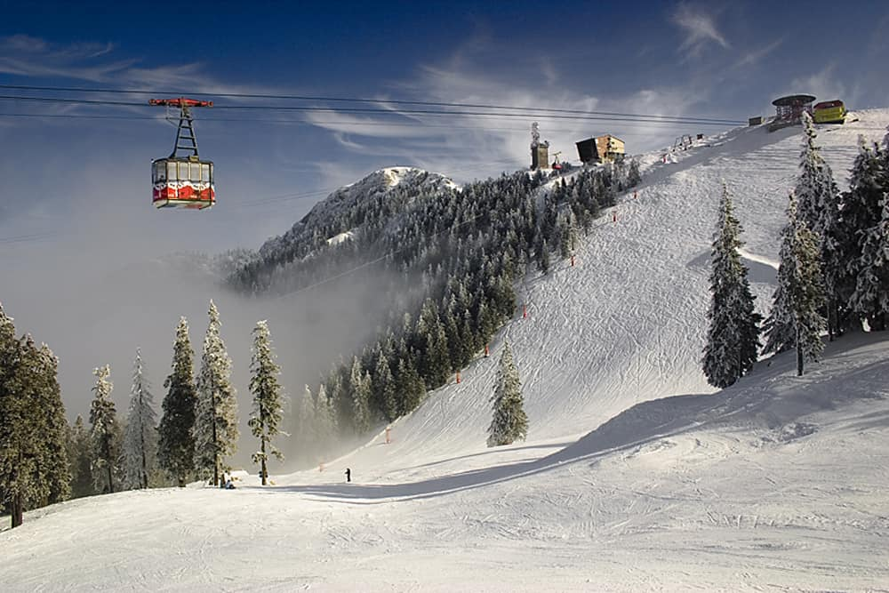 A red gondola over a ski hill surrounded by trees near Brasov Romania.