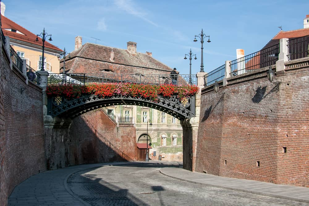 A bridge covered in flowers in Sibiu with a road running beneath.