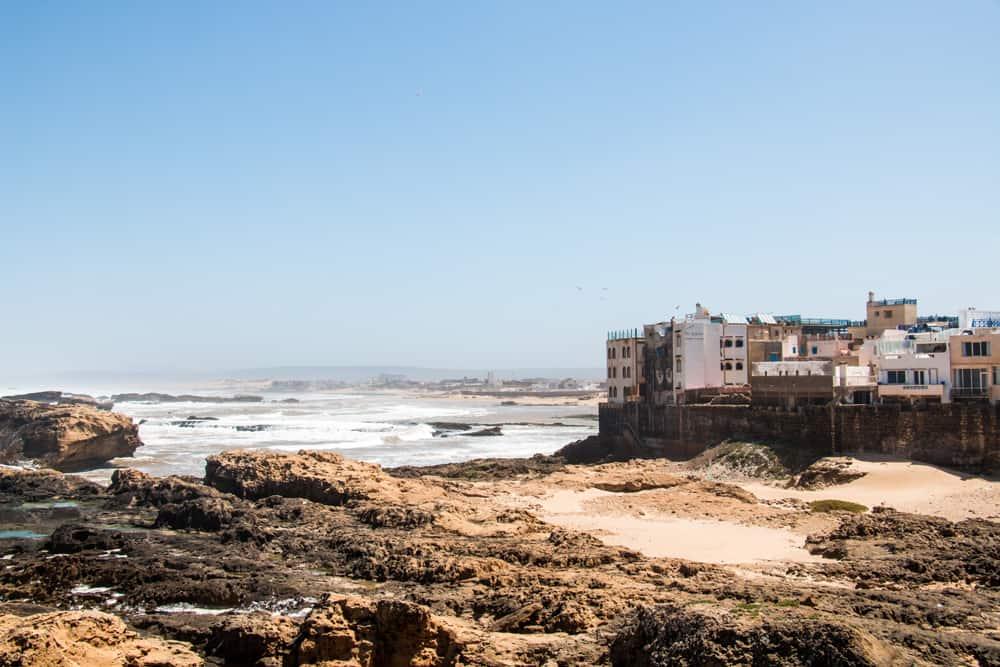 Waves crash over the shore of Essaouira, Morocco