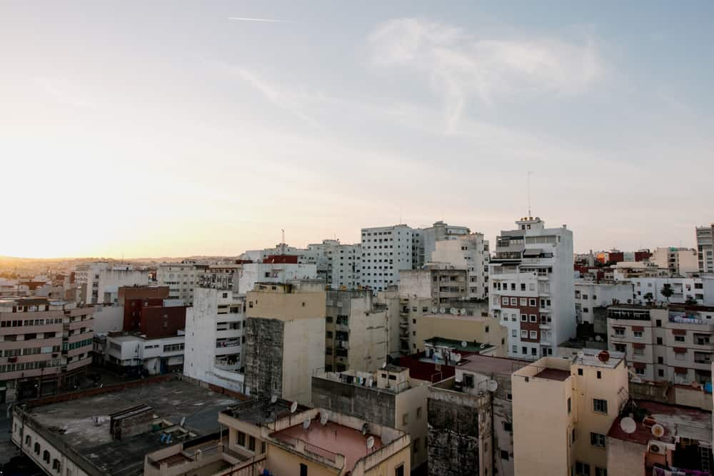 Susnet over the skyline of Tangier, Morocco