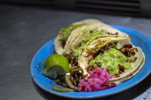 Tacos on a blue plate
