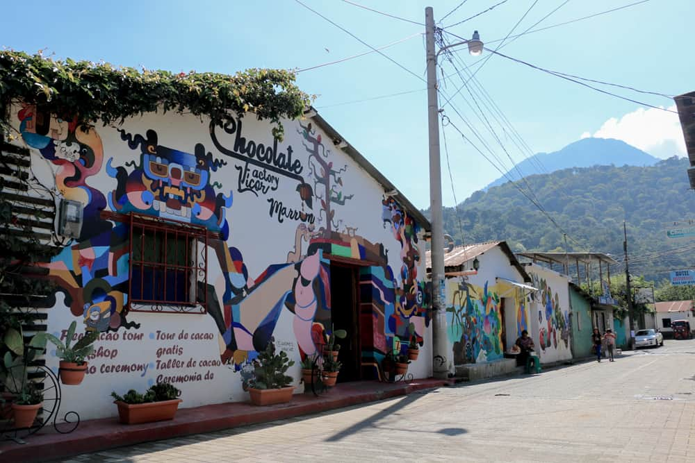 Colourful graffiti-covered Licor Marron chocolate factory in Guatemala