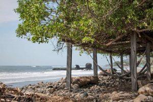 Hammocks under trees near the beach in El Tunco El Salvador