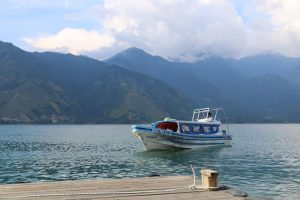 Boat in the water near a dock