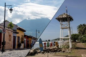 Two photos. A street and volcano on the left, a lifeguard tower on the right in Guatemala and El Salvador