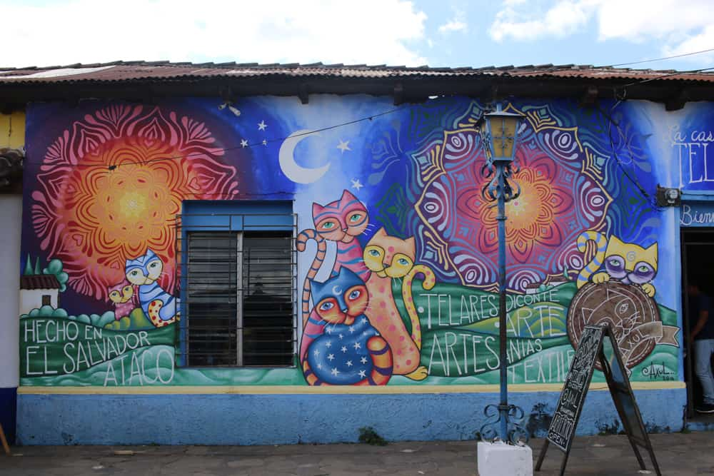 Colourful graffiti on the side of a building in Conception de Ataco El Salvador