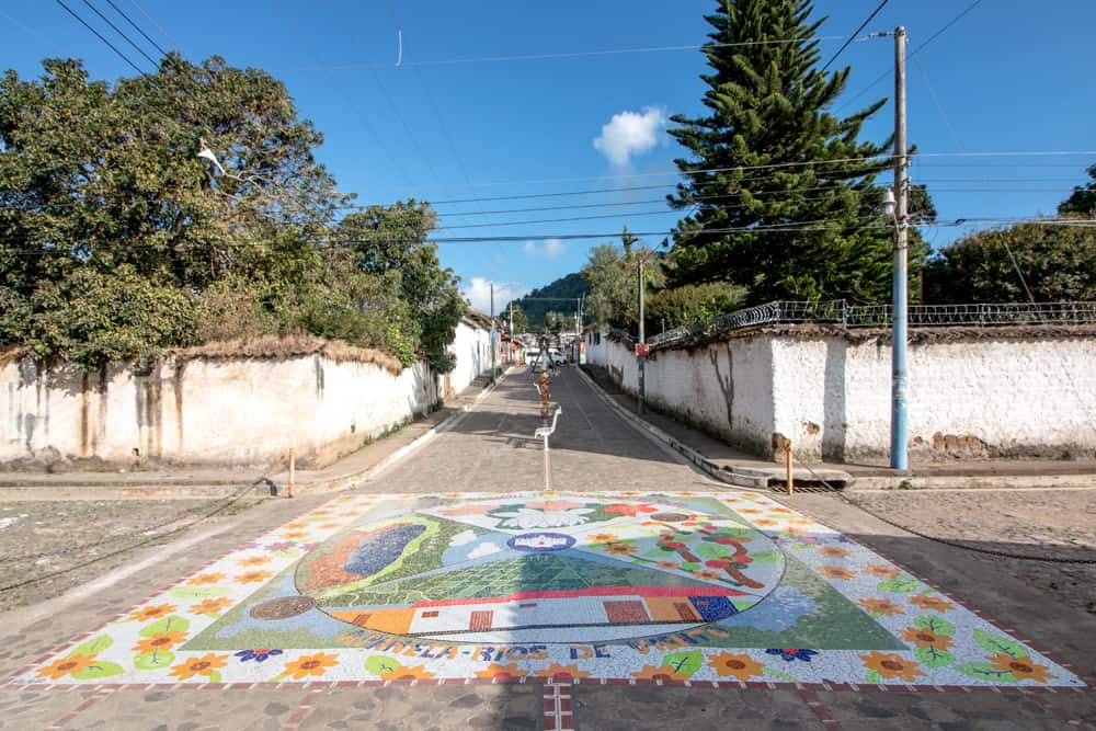 Colourful tile mural in a street