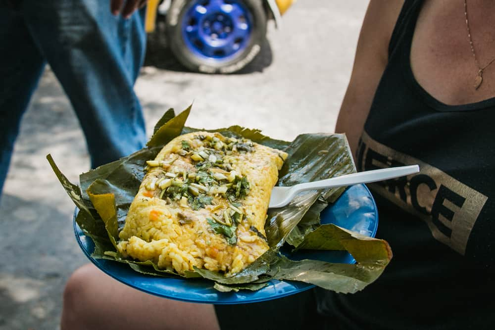 Woman with a blue plate of rice covered in herbs