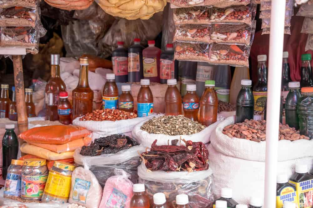 Spices and dry goods from a market stall