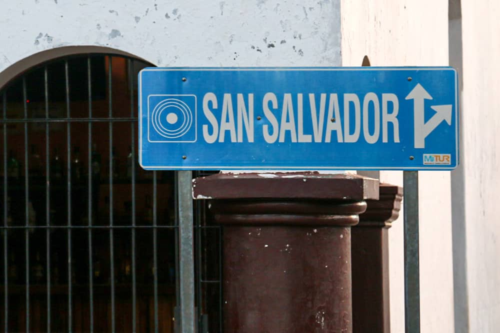 "Blue sign that reads ""San Salvador"""