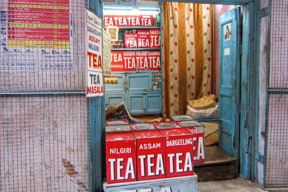 Red boxes of tea in a shop