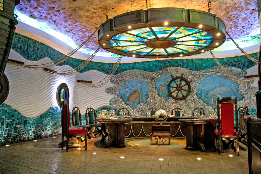 Colourfully painted room with ship artifacts at Cricova underground winery in Moldova