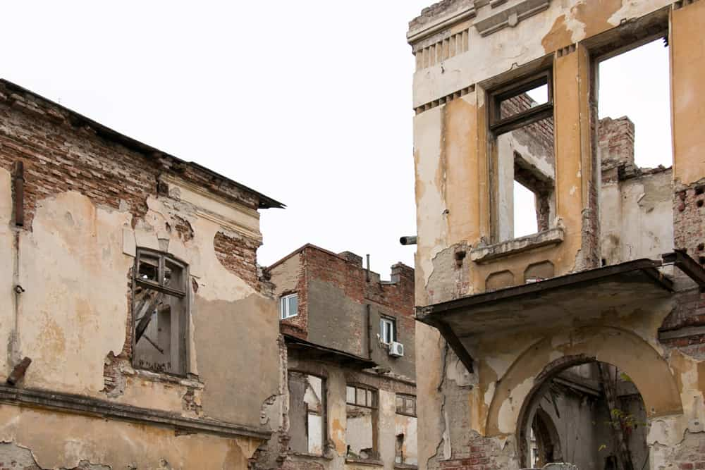 The crumbling buildings of Bucharest. casualties of communism, entire neighbourhoods destroyed